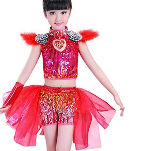 Kinder Jazztanz Kostüme Jungen Pailletten Prinzessin petite Rock Kinder modernen Tanz Schleier Performance Kleidung , 140cm , red 2
