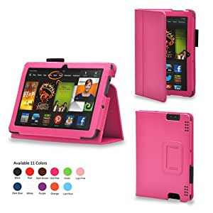 iZKA® - Amazon Kindle HDX 7 inch Tablet Leather Case Cover and Flip Stand Typing Wallet + ProPen Stylus Pen (2013 Model Fits All Versions - 16GB, 32GB & 64GB Wi-Fi + 4G LTE) - (Hot Pink)