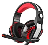 Gaming Headset, Bigaint Stereo Headphones for PS4, PC Xbox One Controller with Microphone , Sound Control, LED Light, USB, 3.5mm Port(Black+Red)