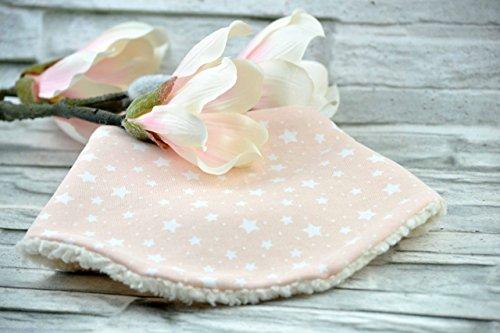 Halstuch aus Bio-Baumwolle für Babys und Kinder, 0-36 Monate, kuscheliger Teddystoff, gefüttert, rosa, Sterne weiß, Mädchen, (Plüsch Umweltfreundliche)