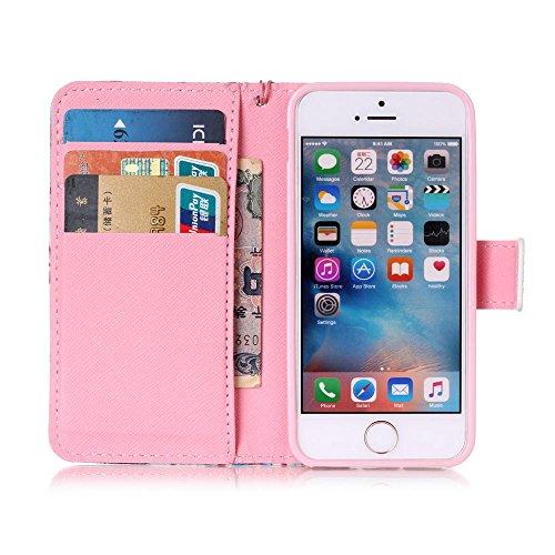 Cuir Portefeuille Coque pour Apple iphone 5 5S SE, Élégant iPhone 5S étui Rabat Style, iPhone SE Case, Joli Image Imprimé - Don't Touch My Phone Rose-1