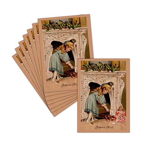 Tarjeta Noel antigua-Tarjeta navidad Vintage-8tarjetas-Tarjeta navidad Pantuflas devant la chimenea ➽ Dispo...
