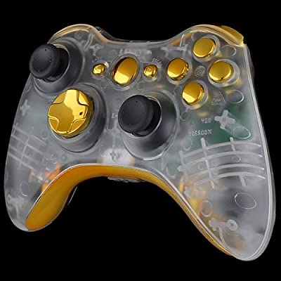 Official Xbox 360 Wireless Controller - Clear Case with Gold Buttons