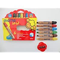 Giotto Be Be Jumbo Chunky Wood Colouring Pencil Crayons & Sharpener - 6 pack