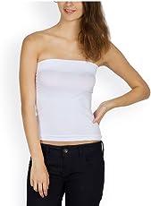 Golden Girl Women's Strapless Tube Top Camisoles(LTT-SW_White_X-Large)