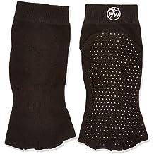 PhysioWorld - Calcetines mitad, antideslizante para Yoga / Pilates / Fitness, color negro, M