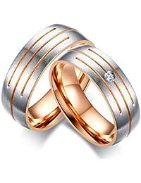 Vnox 2 piezas de acero inoxidable cúbicos de circonio de diamantes compromiso de la boda prometido anillo de la banda de San Valentín para las parejas de oro rosa