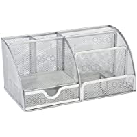 White Box Osco - Organizador de escritorio grande (malla, resistente, con almohadillas de goma), color plateado