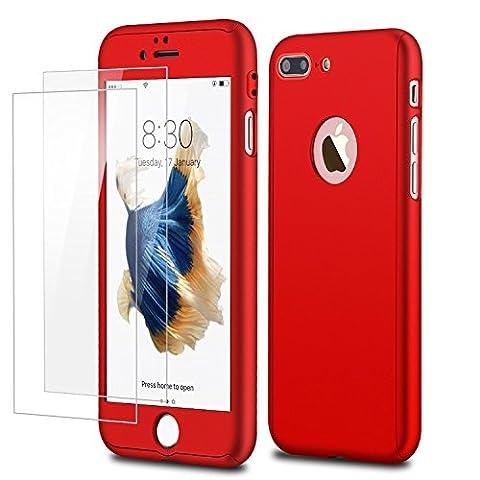 Coque iPhone 7Plus, Joseche Coque de Protection Intégrale Rigide de Qualité [Double couche] avec 2Protections d'écran en verre trempé pour iPhone 7Plus 5.5