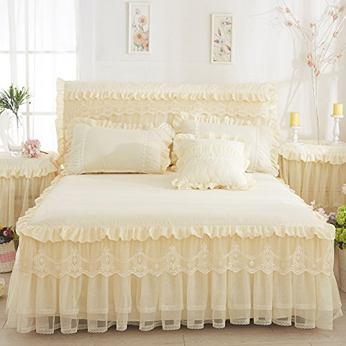 Wang Gang Falda de la Cama con Volantes sábanas colchas Protector de Encaje Princesa Cubierta Individual-C 150x200cm(59x79inch)