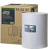 Tork 530237 Paño de limpieza industrial ultrarresistente Premium / 1 capa/Papel multiuso compatible con los sistemas W1, W2 y W3 / 1 bobina x 60,8 m de largo/color azul