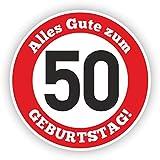 Werbeagentur Finkbeiner Geburtstag Verkehrszeichen 50 Jahre - 30cm auf 2mm Hartschaumplatte - Beschreibbar