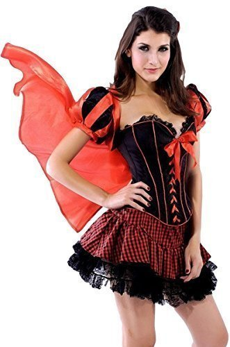 Damen Sexy Rotkäppchen Korsett Halloween Märchen Kostüm Kleid Outfit - Rot, 8