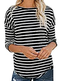 a2f8efee2d Camisetas De Rayas Negras Y Blancas Mujer Ronamick Casual Blusa De Fiesta  Mujer Elegante Tops Cortos Mujer Casual Camisa Para Mujer…
