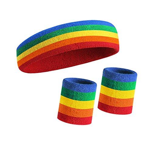 HOTER Sportline Handgelenk Band, Frottee Handgelenkband, Schweißband, Schweißband (Preis für 1Stück), A3-Rainbow(1Headband+2Wristbands) (Baumwolle Band Rainbow)