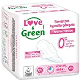 Love & Green Serviettes Hypoallergéniques Normal 0% 14 Pièces - Lot de 4