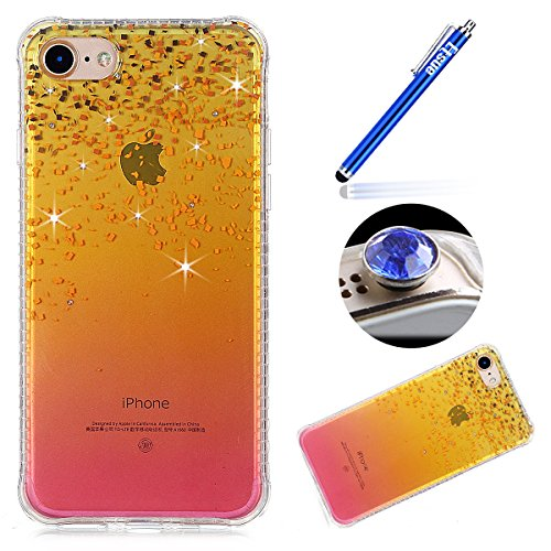 iPhone 7 Custodia Diamante Bling,iPhone 7 Cover in Silicone,Etsue 2017 Neo Disegni Donna Ragazza Cristallo Bling Scintillante Diamante Bella Elegante Romantico Stella Modello Trasparente Flessibile Tp bling
