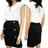LADIES TWO TONE DRESS BLACK PENCIL SKIRT W BUTTONS WRAP STYLE TOP 8 10 12 14 (12)