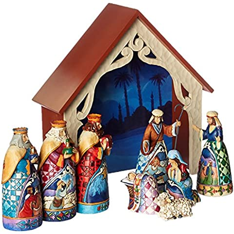 Hearwood Creek 4034382 Figurina Minnie Natività di Lusso, 9 Pezzi Resina Santa, Disegno da Jim Shore 25 cm