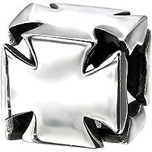 So Chic Joyas - Abalorio Charm Cubo Cruz de Malta - Compatible con Pandora, Trollbeads