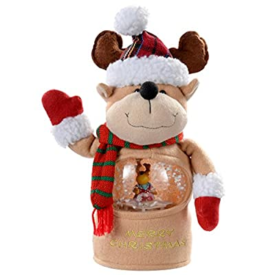 Let it Snow Musical Characters Santa,Reindeer,Snowman with Colour Changing LED's Snowing Scene