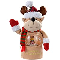 WeRChristmas Let it Snow Musical Reindeer with Colour LED Changing Snowing Scene - 29 cm, Multi-Colour