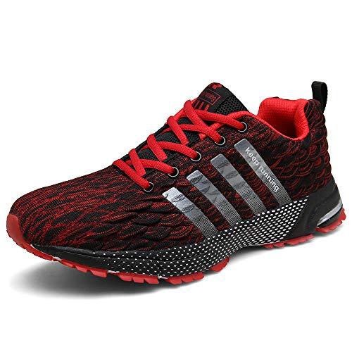 SOLLOMENSI Herren Schuhe Sportschuhe Laufschuhe Turnschuhe Sneaker Joggingschuhe Freizeitschuhe Outdoor Schuhe Trainers Running 43 EU F Rot (Trainer Sneaker Schuhe)