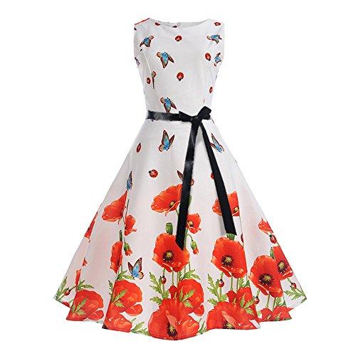 AIni Damen Vintage ÄRmelloses Elegant 50er Jahre Petticoat Kleider Gepunkte Rockabilly Kleider...