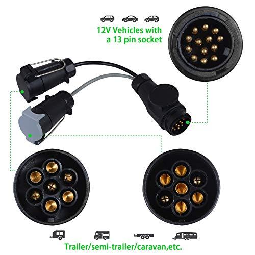 EVERGD Adapter für Anhänger/LKW/Wohnmobil, 13 Pin auf 7 Pin Stecker N & S Euro-Steckdose Anhängerkupplung Elektrische Umwandlungsadapter Kabel-Twin 7-polig, Kupfer, Twist & Lock, 12 V, 35 cm -