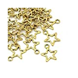 Paket 30 x Antik Gold Tibetanische 15mm Charms Anhänger (Stern) - (ZX07980) - Charming Beads