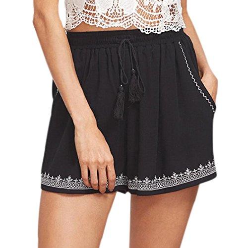 Bestoppen Women' Shorts,Ladies Summer Sexy Printed Cotton Black Hot Pants High Waist Loose Fit Yoga Shorts Fashion Plus Size Sport Running Shorts Casual Beach Short for Women Girls