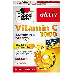 Doppelherz Vitamin C 1000 Tabletten – Hochdosiertes Nahrungsergänzungsmittel mit Vitamin C und D zur Unterstützung des Immunsystems und zum Schutz der Zellen – 1 x 30 Tabletten