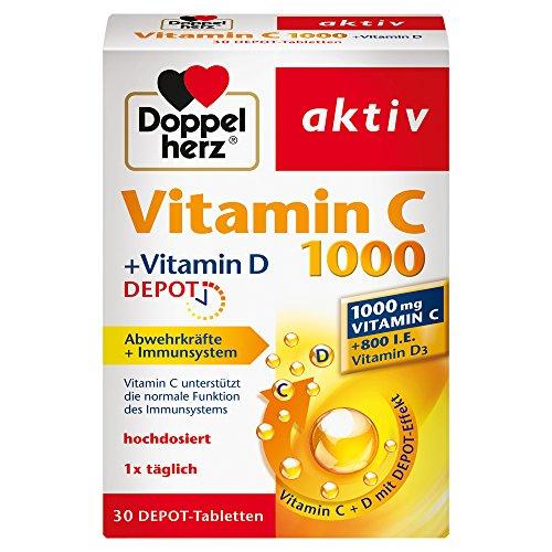 Doppelherz Vitamin C 1000 Tabletten - Hochdosiertes Nahrungsergänzungsmittel mit Vitamin C und D zur Unterstützung des Immunsystems und zum Schutz der Zellen - 1 x 30 Tabletten