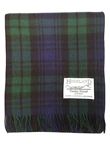 Schottisches Hochland Tartan Tweeds aus 100% Wolle, Tartan, Teppich, Decke, 11Tartans erhältlich schwarz/schottenmuster
