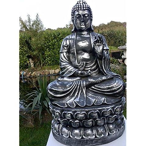 N. 0812di Buddha 65cm in argento Statua Statuetta Scultura mano sinistra a Natale (Tono Argento Drago)