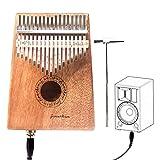 Kalimba 17 Schlüssel Daumenklavier Instrument Mahagoni Musikinstrumente mit Tonabnehmer, Stimmwerkzeug und Tragetasche von Finether