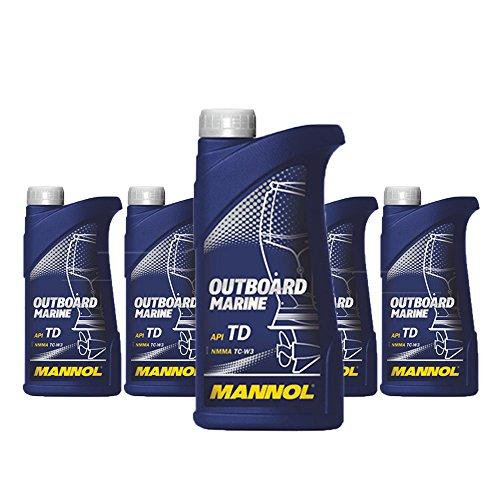 MANNOL 5 x 1L Outboard Marine 2-Takt/API TD NMMA TC-W3 Bootsmotorenöl (Outboard-Öl)