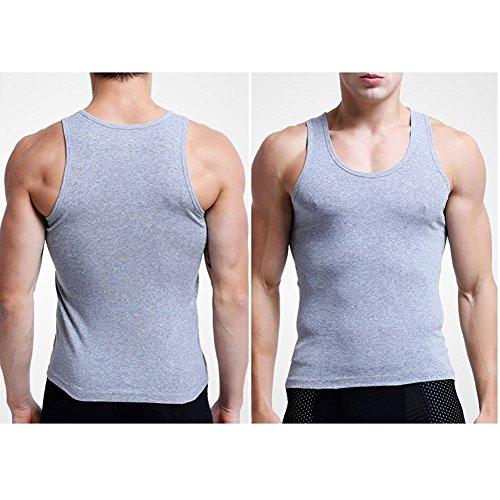 Linyuan Men's Cotton Wicking Vest Sport Gym Fitness Underwear Tank Top 3 Colors Gray