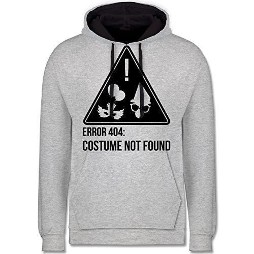 & Fasching - Error 404: Costume not Found - M - Grau meliert/Navy Blau - JH003 - Kontrast Hoodie ()