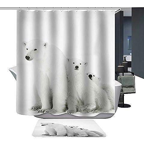 Harson&Jane Digital Print Waterproof and Mildewproof Shower Curtain Size 180*180 180*200 (180*200, Polar Bear)