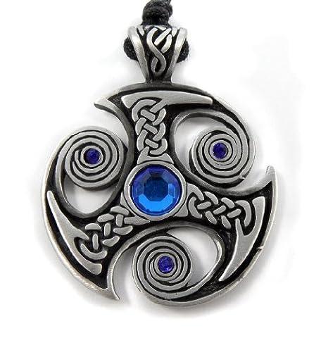 Mystical & Magical Pewter Blue Trefot Viking Nordic Spiral Celtic Norse Pagan Pendant