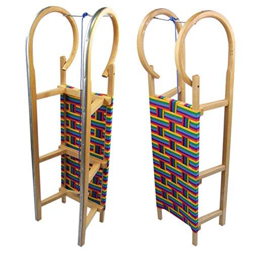 BAMBINIWELT Holzschlitten Hörnerrodel mit Zugseil, Sitzfläche aus Kunstfasern im Regenbogendesign,100cm