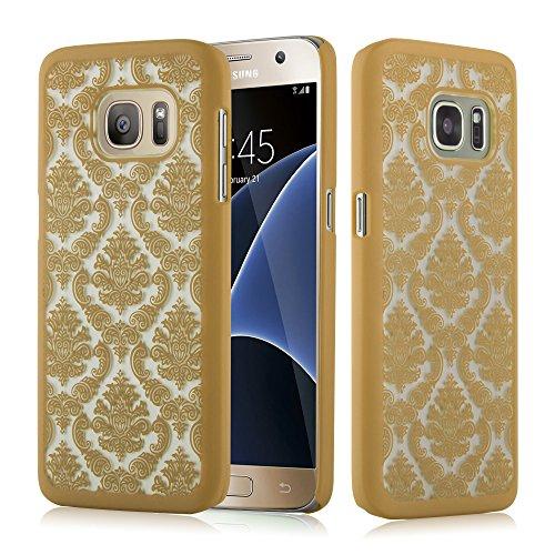 Preisvergleich Produktbild Cadorabo Hülle für Samsung Galaxy S7 - Hülle in Gold - Hardcase Handyhülle im Mandala Design - Schutzhülle Bumper Back Case Cover