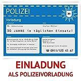 Individuelle Einladungskarten zum Geburtstag (40 Stück) als Polizeivorladung Polizei Vorladung Karte