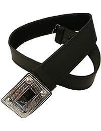 Tartanista - Cinturón para kilt escocés con hebilla para hombre - Negro