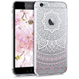 kwmobile Étui transparent en TPU silicone pour Apple iPhone 6 / 6S en blanc rose etc. Motif tribal