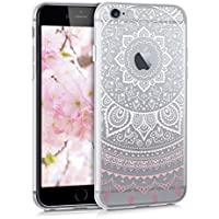 kwmobile Hülle für Apple iPhone 6 / 6S - TPU Silikon Backcover Case Handy Schutzhülle - Cover klar Indische Sonne Design Rosa Weiß Transparent