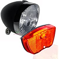 LED Hollandrad Matt Schwarz Fahrradbeleuchtung Set Rücklicht Scheinwerfer, Fahrradlampen