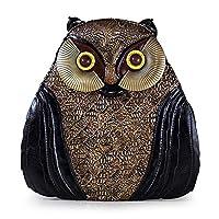 SAOJI Women Leather Backpack Preppy Style Schoolbag Travel Bag Totes Braccialini Style Handicraft Design Art Cartoon 3D Owl Retro,Black