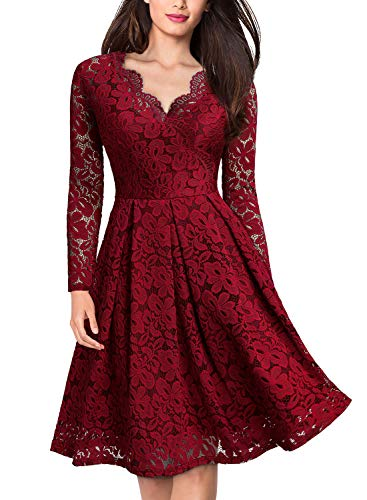 MISSMAY Damen Vintage Abendkleid 1950er V-Ausschnitt Cocktailkleid Spitzen Schwingen Pinup Rockabilly Kleid Rot Gr.XS